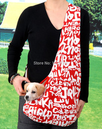 Wholesale Cpam Carrier - Wholesale-New Red Letter Printing Canvas Pet Sling Dog Cat Carrier Bag Free Shipping by CPAM Bag for dog