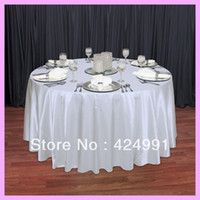 "Wholesale Round Table Cloths Sale - Wholesale-10pcs Factory Direct Sale White 108"" Round Satin Table Cloth ,Satin Table Cloth For Wedding Event Decoration"