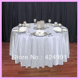 "Wholesale Satin Table Cloths White - Wholesale-10pcs Factory Direct Sale White 108"" Round Satin Table Cloth ,Satin Table Cloth For Wedding Event Decoration"