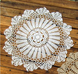 Wholesale Cotton Crochet Table Mat - Wholesale-Set of 12 Crocheted doilies 38cm Round 15inches Vintage table mats for wedding