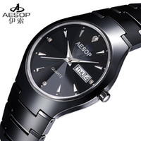 Wholesale Aesop Watches - Wholesale-AESOP Luxury CZ Diamond Crystal Watch Gift For Man Steel Case Elegant All Black Ceramic Sapphire Men Quartz Wristwatches 8835
