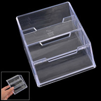 3-tier Design Clear Plastic Nom Business carte de crédit Stand Holder Case