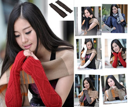 Wholesale Winter Warm Knit Gloves White - Wholesale-2016 new 7 Color Fashion Winter Womens Knit Rhombus Fingerless Arm Warmer GlovesChristamas and new year gifts