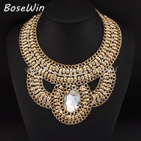 Wholesale Big Chunky Bubble Necklace - New Arrival Exaggerate Accessories Women Short Design Collar Chunky Bubble Gold Chain Big Glass Gems Statement Necklaces CE2800