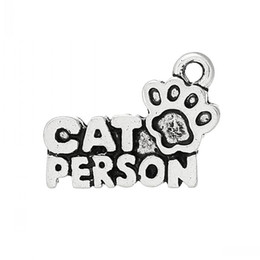 """Wholesale Carved Cat Charms - Charm Pendants Cat Footprint Antique Silver """"Cat Person""""Carved 18mm x 13mm(6 8"""" x 4 8""""),50 PCs 8seasons"""