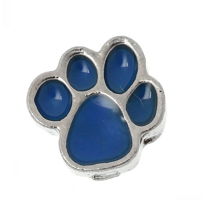 Floating Charms For Glass Living Memory Locket Pendants Bear's Paw Silver Tone Enamel Blue 7mm x 7mm,20PCs 8seasons