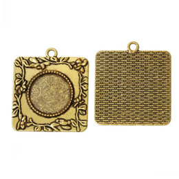Wholesale Nickel Pendant Charms - Charm Pendants Square Gold Tone Cabochon Setting(Fit 20mm Dia)Nickel Free Flower Pattern Carved 4cm x 3.6cm,10PCs 8seasons