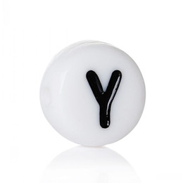 """Wholesale Alphabet Spacer Beads - Acrylic Spacer Beads Round White Black Alphabet Letter """"Y"""" About 7mm Dia,Hole:Approx 1.2mm,1000PCs 8seasons"""