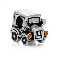 "Wholesale European Rhinestone Bead 14mm - European Charm Beads Car Antique Silver Champagne Rhinestone About 14mm x 13mm(4 8"" x 4 8""),Hole:Approx 4.7mm,20PCs 8seasons"