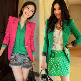 Wholesale Women Blazer Cuff - Wholesale-FREE Shipping 2015 Autumn New Fashion Style Women Business Suit Jackets Candy Green Rose Red Dots Cuffs Shurg One Button Blazers