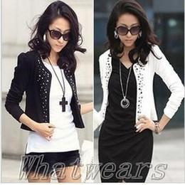 Wholesale Ladies Coats Leisure - Wholesale-2015 New Womens rivets Coat Comfortable Leisure Slim Wild suit Ms. Jacket Lady Blazers Black White [70-4024]