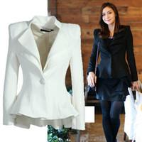 Wholesale Korean Tuxedo Jackets - Wholesale-2015 Hot Sale Korean Style Women's Blazer Fashion Swallow-tailed Coat Suit for OL White and Black Tuxedo Jacket Women PWG05055