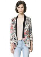 Wholesale Women Flower Blazer - Wholesale-Fashion Kimono Jacket Office Women Vintage Brand Blazer Flower Printed Feminino Blaser
