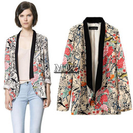 Wholesale Cheapest Long Coats Women - Wholesale-Cheapest Fashion Women Jacket Blazer Suit Long Sleeve Lapel Coat Kimono Coat Floral Prints Blazer Women B11 SV005042