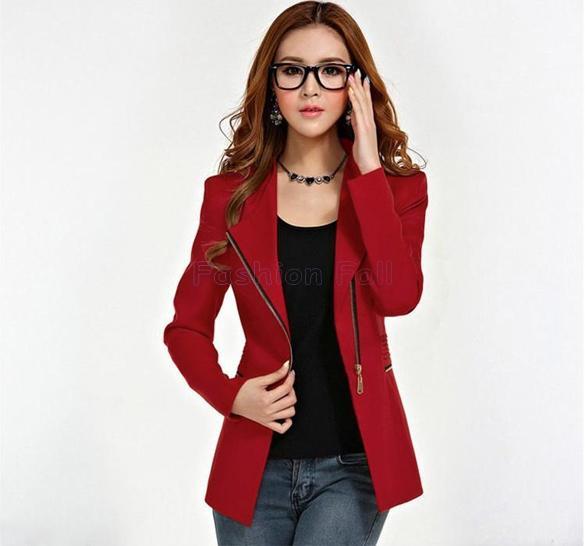 Wholesale-Blaser Feminino 2015 OL Women Work Wear Coat Casual Short Suit Women Blazer Biker Style Asymmetrical Zipper Ladies Jackets 6833