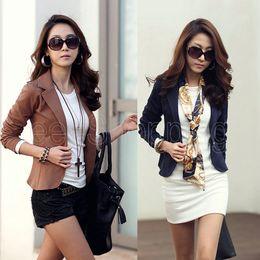 Wholesale Korea Womens Coat - Wholesale-Q284 Korea Style OL Ladies Womens One Button Short Waist-length Casual Blazers Suits Lapel Jacket Tops Coat Outerwear For Work