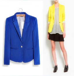 Wholesale Womens Tunic Cardigan Coat Jacket - Wholesale-2015 Free Shipping Womens Tunic Foldable Sleeve Blazer Jacket Candy Color Small Suit One Button Cardigan Coat XS   S   M   L  XL