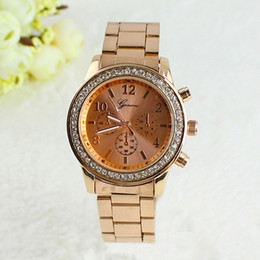 Wholesale Geneva Watch Bling - Wholesale-Geneva Bling Crystal Ladies Women Girl Unisex Stainless Steel watches Quartz Wrist Watch 04GY