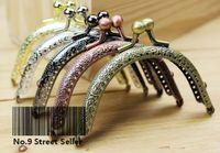 Wholesale Craft Purse Handles - Wholesale-Track Ship + 20pcs lot DIY 8.5cm Elegant Press Mixed Color Metal Purse Frame Handle for Bag Sewing Craft Tailor Sewer
