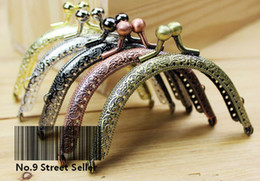 Wholesale Diy Bag Handle - Wholesale-Track Ship + 20pcs lot DIY 8.5cm Elegant Press Mixed Color Metal Purse Frame Handle for Bag Sewing Craft Tailor Sewer