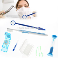 Wholesale Dental Care Tooth Brush Kit - Wholesale-Promotion 10packs Dental Oral Care Clean tools Orthodontic Kit Tooth Brush Toothbrush Interdental Mouth Mirror Floss