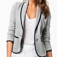 Wholesale Type Women Blazer - Wholesale-NEW 2015 Sexy Jackets Women Winter and Autumn Fashion Long Sleeve Coat Woman Blazer Cotton Jacket XS-XXL Slim Type Women Clothes