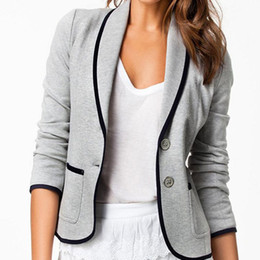 Wholesale Type Women Blazer - Wholesale-NEW 2015 Sexy Jackets Women Winter and Autumn Fashion Long Sleeve Coat Woman Blazer Cotton Jacket XS-XXL Slim Type Women Clothes