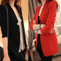Wholesale Padded Shoulders Ladies Jackets - Wholesale-2015 Spring and autumn women's casual suit ladies' slim small solid work jacket plus size pads shoulder fashion business