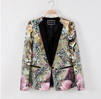 Wholesale Type Women Blazer - Wholesale-New spring 2104 Slim-type suits for women career suit jacket Floral blazer women Shirt sleeves blazer q27