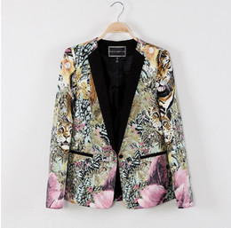 Wholesale Type Women Blazer - Wholesale-New spring 2104 Slim-type suits for women career suit jacket Floral blazer women Shirt sleeves blazer q27