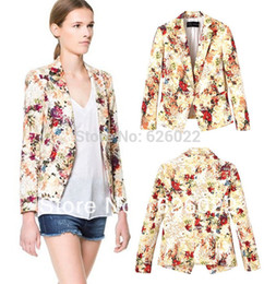 Wholesale Womens Trendy Jackets - Wholesale-Women Trendy Vintage Womens Floral Printed Single Breasted Long Sleeve Casual Slim fit Blazer Suit OL Jacket Free shipping