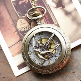Wholesale Russia Antique - Fashion Jewelry the hunger game Retro Necklace Pocket watch 2014 new russia hunger games pocket watch bronze vintage cool bird