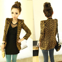 Wholesale Leopard Shrug - Wholesale-Free shipping Vintage Autumn Women Shrug Leopard Jacket Slim Fit One Button Blazer With Shoulder Pad Outwear print small suit