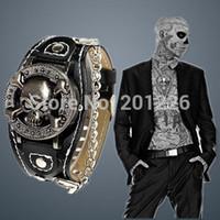 ingrosso orologio antico scheletro-All'ingrosso-2015 nuovo disegno antico della copertura in pelle analogico al quarzo scheletro freddo Skull orologio per gli uomini. Moda orologio maschile.Caveira Reloj hombre