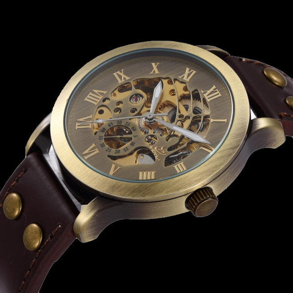 Wholesale-2015 New Fashion Vintage Antique Bronze Skeleton Mechanical Watch Men Leather Automatic Watch Shenhua  Wristwatch