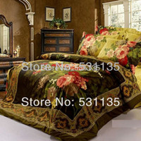 Wholesale Luxury Red Comforters - Wholesale-oil painting 4pc bedding set king queen size 3D Duvet Quilt comforter cover Luxury bed linen bedspread bedsheet set 100% Cotton