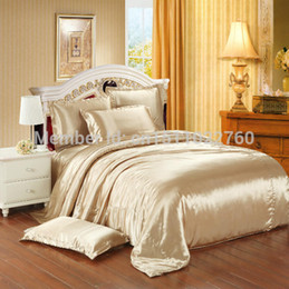 Wholesale White Queen Comforter - Wholesale-Solid color summer bedding set silk four piece set 100 mulberry silk duvet cover bed sheets silk satin color block decoration