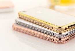 Wholesale Diamond Bumper Iphone 4s - Wholesale-New Luxury Crystal Rhinestone Bumper Frame For iPhone5 5s 4s Diamond Gold Slim Shining Bling Case For iPhone 5 Free Shipping