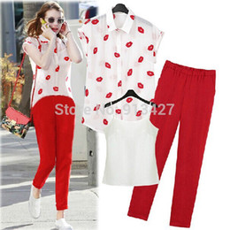 Wholesale Clothes For Office Lady - Wholesale-Office lady elegant pants suits for summer 3pcs set lips pattern short sleeve chiffon blouse with camis plus pants clothing set