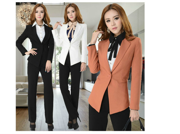 a3961258a5abc 2019 Wholesale New Professional Autumn Winter Women'S Overalls Uniform  Pants Suits For Office Lady Coat+ Pants Plus Size XXXL From Harrvey, $61.82  | ...