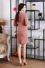 Wholesale applique work suits - Wholesale-2015 New Fashion Women Skirts Suits for OL Office Ladies Career Business Blazer Sets Work Wear Autumn Spring Free shipping