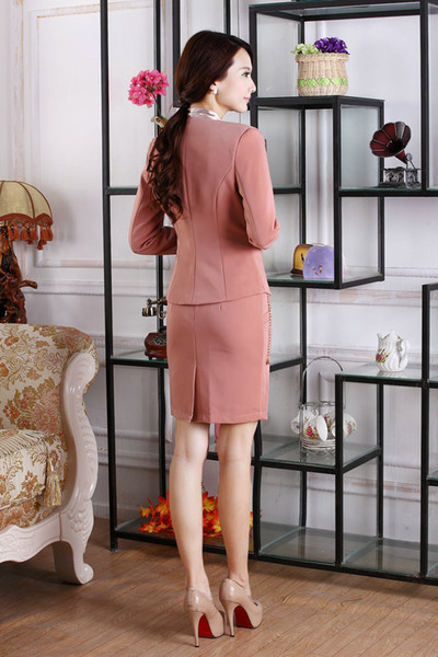 Wholesale-2015 New Fashion Women Skirts Suits for OL Office Ladies Career Business Blazer Sets Work Wear Autumn Spring Free shipping