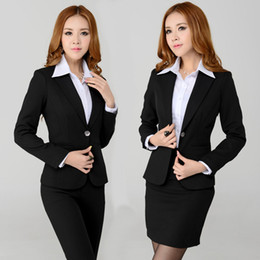 Costumes D'affaires Pour Femmes Pas Cher-Wholesale-New Style 2015 Mode Printemps Femmes Jupe Costumes Femmes Costumes Business Blazers Formal Workwear Sets Ladies Slim Elegant