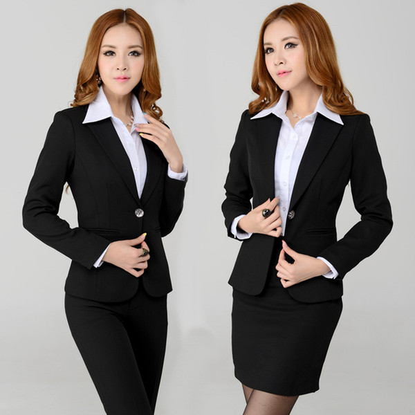 Wholesale-New Style 2015 Spring Fashion Female Skirt Suits for Women Business Suits Blazers Formal Workwear Sets Ladies Slim Elegant