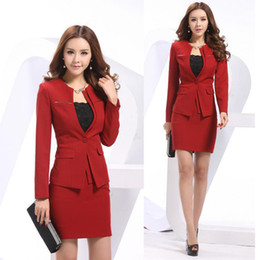 Wholesale Spring Autumn Women Blazer Jacket - Wholesale-New 2015 Spring and Autumn Formal Red Blazers Women's Suits with Skirt and Jacket Sets Winter Ladies Office Suits for Work