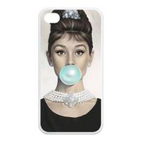 "Wholesale Iphone 4s Case Audrey - Wholesale-Free Shipping Audrey Hepburn Blue Bubble Gum Durable Hard Plastic Customized Case for iPhone 4 4s 5 5s 5C 6 (4.7"")"