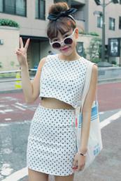 Wholesale Sty Nda - Wholesale-freeshipping sty nda white polka dot vest slim hip short skirt set