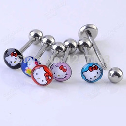Wholesale Tongue Bar Titanium - 20pcs Lots Mixed Color Cat Design Ball Tongue Bars Rings Barbell Piercing Stainless Steel Body Jewelry Wholesale Free Ship