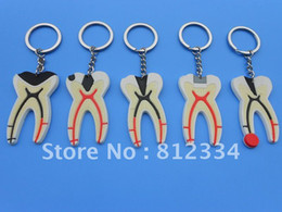 Wholesale Tooth Dentist Key Chains - Wholesale-5 Pieces Plastic Dental Tooth Key Chain for Professional Dentist Dental Adornment Free Ship