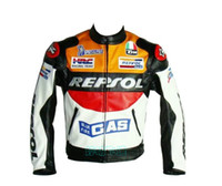Wholesale orange leather jackets - Wholesale-wholesale-2015 New Motor GP motorcycle REPSOL Racing Leather Jacket  motorcycling jacket size S to XXL